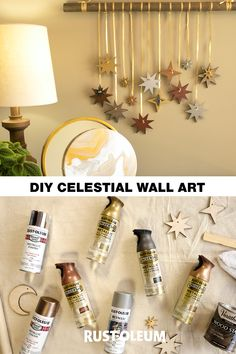 Spruce up your wall or window with this DIY Celestial Wall Art project and reach for the stars as you create your very own constellation! Crafts To Do, Diy Crafts For Kids, Home Crafts, Arts And Crafts, Paper Crafts, Diy Wall Art, Diy Art, Art Mural, Crafty Craft