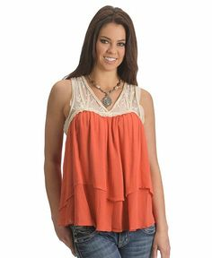 Miss Me Crocheted Lace Tiered Sleeveless Top