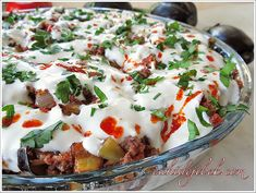 Bread Kebab with Yogurt and Eggplant - Ramadan Desserts, Good Food, Yummy Food, Biryani Recipe, Arabic Food, Iftar, Turkish Recipes, Vegan Baking, Great Recipes