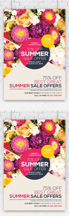 PSD  Summer Sales Flyer  Template • Click here to download ! http://graphicriver.net/item/summer-sales-flyer/16227011?ref=pxcr