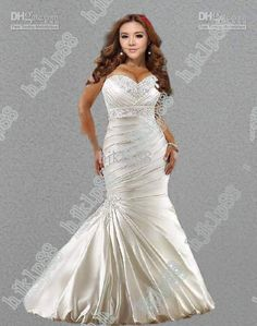 Wholesale Hot Sale New Sexy Mermaid Sweetheart Plus Size Wedding Dresses Satin Embroidery Wedding Dress Actua, Free shipping, $89.6-134.4/Piece | DHgate
