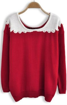 Red Long Sleeve Pearls Bow Pullovers Sweater