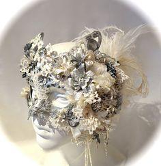 Venetian Wedding Mask Masquerade Art Mask OOAK by Marcellefinery, $415.00