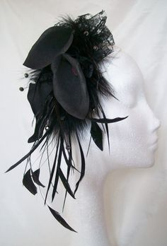 Black Calla Lily & Feather Fascinator Headpiece by Gothic Diva Designs #Gothic #Steampunk Fabulous Elegant Gothic, Victorian Vintage & Steampunk inspired designs,  Including mini hat fascinators, feathered hair clips, ostrich & peacock feather fans,  saucer hats, wedding bouquets, bandeau veils and wristlets. www.gothicdivadesigns.co.uk