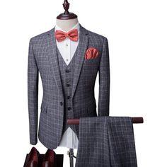 Lapel à manches longues Plaid bouton unique costume trois-pièces (Blazer +  Gilet + 8b7394975233