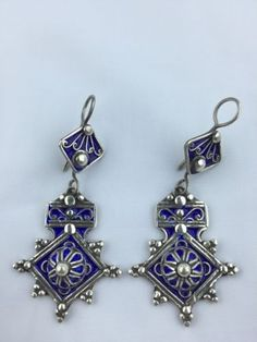 Silver Moroccan Cross Earrings Bogdad by EthnicEmbellishments