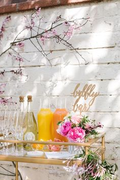 Bubbly bar from a Floral Easter Brunch