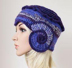 Purple Cloche Women's Winter Hat Freeform by MinnaMatildaDesigns