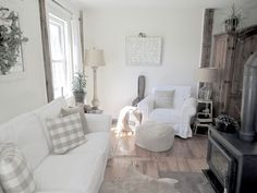 Quieting the Living Room for the Warmer Months Living Room White, Living Room Sofa, Home Living Room, Living Spaces, Ektorp Sofa Cover, Great Room Layout, Beige Sofa, White Furniture, White Decor