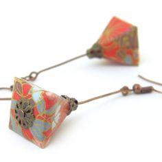 Origami Jewelry, Paper Jewelry, Fabric Jewelry, Diy Jewelry, Jewelry Design, Origami And Quilling, Diy Origami, Asian Crafts, Terracotta Jewellery