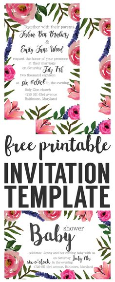 Flat Floral - Free Printable Birthday Invitation Template - free printable birthday invitation templates for boys