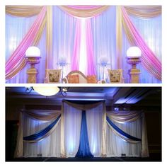 This stage was set prior to laying out beautiful gold with cream furniture   Indian Stage Decor available at www.uniquedesignandevents.com