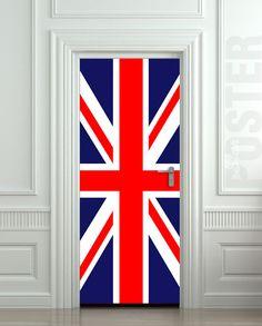 Door STICKER British flag UK banner Great Britain by Wallnit, $39.99
