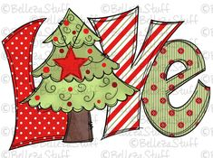 Love Christmas Tree PNG File Sublimation Design for Digital Christmas Rock, Cowboy Christmas, Small Christmas Trees, Whimsical Christmas, Christmas Pictures, Winter Christmas, Christmas Wreaths, Christmas Crafts, Christmas Letters