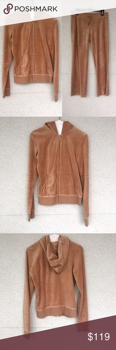 Juicy Tracksuit Camel nude juicy couture matching tracksuit, the zip ip jacket is a Medium and the pants are a Small, kept really nice, lightly worn like new Juicy Couture Pants Track Pants & Joggers