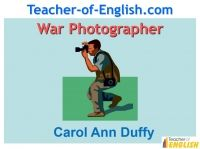 War Photographer (Carol Ann Duffy) is a 23 slide fully editable PowerPoint presentation designed to teach Carol Ann Duffy's poem.  War Photographer (Carol Ann Duffy) takes pupils through the meaning, imagery and themes of the poem.