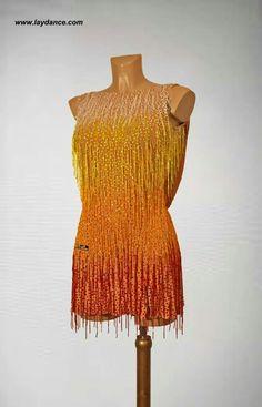.yellow orange gradient ombre latin fringe dress