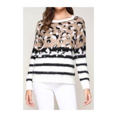 c906e30e53ae26 Ivory & Baby Pink Fuzzy Knit Leopard Sweater with Black White Stripe  Contrast