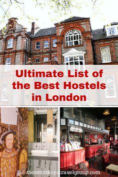 ULTIMATE LIST OF THE BEST HOSTELS IN LONDON. #BestHostels #London #BudgetTravel #TwoMonkeysTravelGroup