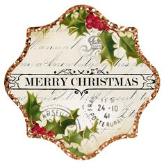 """Gold glitter border ~ approx 3"""" Christmas tag/label"""