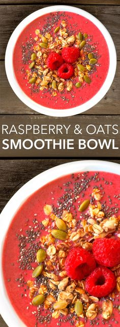 Raspberry and Oats Smoothie Bowl with Shakeology, chia seeds, and pumpkin seeds. Click through to get the recipe! // healthy recipes // breakfasts // snacks // easy // ideas // nutrition // beachbody // beachbody blog
