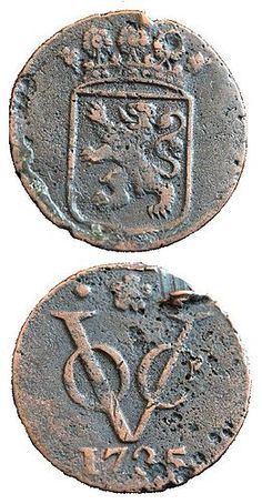 """VOC"" coin (1735) of the Dutch East India Company (Vereenigde Oostindische Compagnie)"