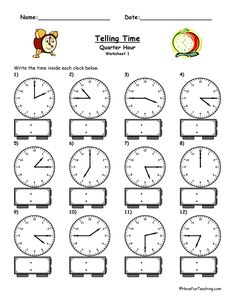 Telling Time Worksheets – To The Quarter Hour: Write the time shown on the clock. 5 Different Worksheets. Information: Telling Time Worksheet. Clock Worksheet. To the Quarter Hour. 5 Different Worksheets Included. Answer Key Included.