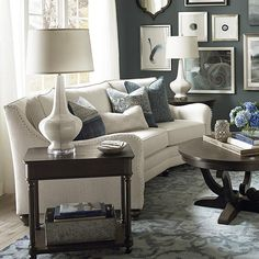 Marseille Conversation Sofa by Bassett Furniture features an angled shape that allows for comfortable seating for relaxation or entertaining. Formal Living Rooms, Living Room Sofa, Living Room Furniture, Living Room Decor, Apartment Living, Room Furniture Design, Sofa Furniture, Furniture Ideas, Furniture Outlet