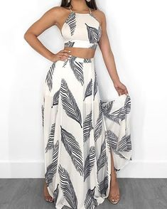 Leaf Print Backless Cami Top & Split Maxi Skirt Set Women Clothes For Cheap, Collections, Styles Perfectly Fit You, Never Miss It! Trend Fashion, Fashion Outfits, Womens Fashion, Fashion Design, Fashion Ideas, Fashion Top, Fashion Inspiration, Fashion 2018, Fashion Clothes