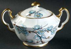 Adderley Chinese Blossom (Blue Flowers) Sugar Bowl & Lid