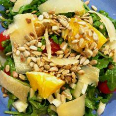 Salad Girl Nat: Arugula salad w Orange Segments, Shaved Parmesan and Sunflower Seeds. Healthy and Tasty!