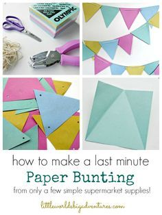 Read how you can easily a cute little last minute paper bunting for any happy occasion in no time with only a few supermarket supplies! Photo Bunting, Felt Bunting, Make Bunting, Diy Bunting Paper, Knitted Bunting, Bunting Ideas, Burlap Bunting, Fabric Bunting, Bunting Flags
