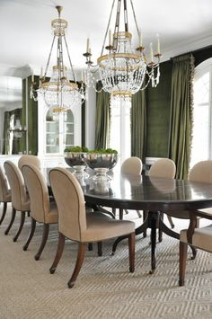 Elegant Dining Room Design Ideas Decor Crystal Chandeliers Deep Olive Green Walls And Matching Curtains Creates Small Formal Table Centerpiece Interior Area Furniture Home Photos Pictures Decorations Modern Kitchen Green Dining Room, Elegant Dining Room, Beautiful Dining Rooms, Green Rooms, Dining Room Design, Dining Area, Green Walls, Dining Chairs, Color Walls