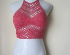 Crochet halter top, high neck halter top, TEA ROSE  festival clothing, boho chic, beach cover up,  burning man, gypsy top,