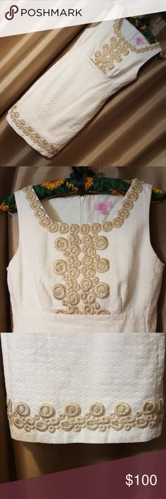 Lilly Pulitzer Dress White and gold embroidered Lilly Pulitzer dress. Worn once for a graduation! Great condition.  If you would like to see it modeled, feel free to ask! 😘 Offers welcome ✌ Lilly Pulitzer Dresses Mini