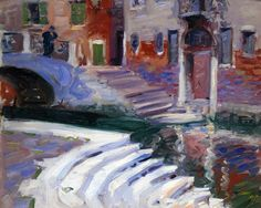 Francis Campbell Boileau Cadell (Scottish, 1883-1937), The Steps to the Canal, Venice, 1910. Oil on board, 15 x 18 in.