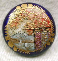 Antique Meiji Satsuma Buttons Boats on lake & Mt. Fuji w/ Maple Leaves & Cobalt
