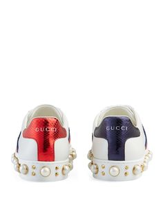 Gucci New Ace Pearl Stud Lace Up Low Top Sneakers