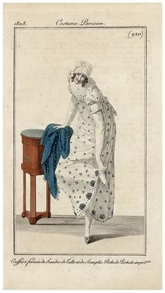 Spotted gown in white and blue, 1808 Costume parisien