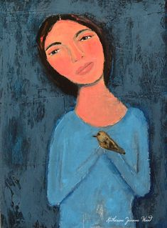 Acrylic Girl & Bird Painting Singing the Blues No 2