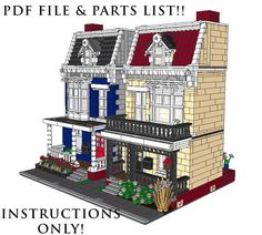 Lego Custom 2 Modular Buildings house #2 INSTRUCTIONS!