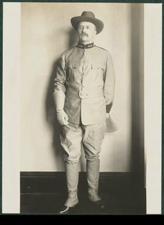 Lieutenant Colonel Theodore Roosevelt wearing his Rough Rider uniform for the first time 1898