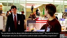 Criminal Minds - Thomas Gibson and Matthew Gray Gubler Criminal Minds Funny, Spencer Reid Criminal Minds, Criminal Minds Cast, Thomas Gibson, Dr Reid, Dr Spencer Reid, Behavioral Analysis Unit, Crimal Minds, Joe Mantegna