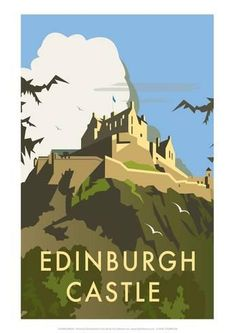 Vintage Travel Art Print: Edinburgh Castle - Dave Thompson Contemporary Travel Print by Dave Thompson : - Retro Poster, Vintage Travel Posters, Travel Sticker, Party Vintage, Vintage Ski, Wedding Vintage, Vintage Games, Edinburgh Castle, Castle Scotland
