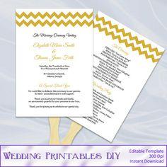 Wedding Fan Program Template  Diy Gold by WeddingPrintablesDiy