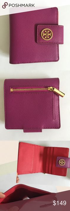 """Tory Burch Robinson Bifold Wallet Tory Burch Robinson Bifold Wallet in Royal Fuchsia/Gooseberry. Snap button closure. 6 card slots. One billfold. Exterior has 1 zip pocket. Made of saffiano leather. Gold tone hardware. Some wear to zipper as shown in pic. Only noticeable when looking closely. Otherwise in great condition. Approximately 4""""x4"""". Perfect when downsizing to a small bag. Tory Burch Bags Wallets"""