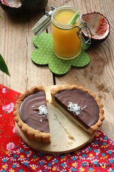 Tarte au chocolat, noix de coco et fruits de la passion Pancakes, Battle, Pudding, Passion, Breakfast, Desserts, Top, Ideas, Chocolate Tarts