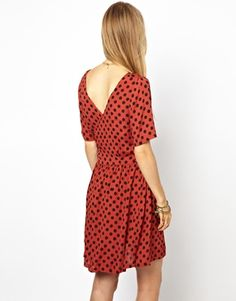 deep vee back polka dot dress