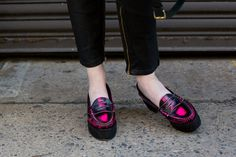 Pink metallic loafers with cool-girl punk appeal. #NYFW #StreetStyle