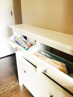 Use Ikea's Hemnes shoe cabinets to create a drop zone in your foyer